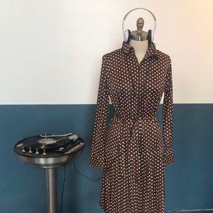 1960s drop waist vintage mod polka dot mini dress